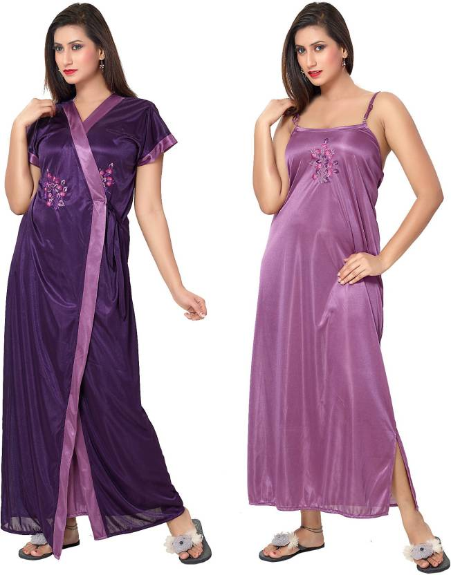 Fashigo Women\'s Nighty with Robe - Buy Light Purple, Dark Purple ...