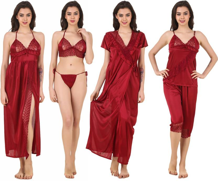 9687b6a068 Masha Women s Nighty Set - Buy Maroon Masha Women s Nighty Set ...