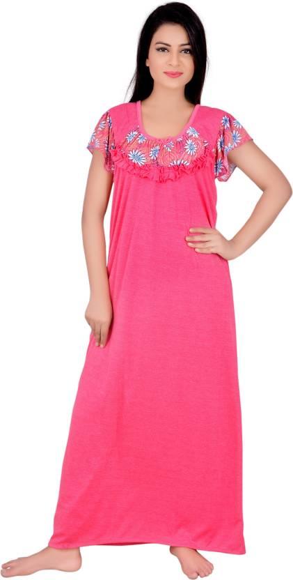 Kanika Women\'s Nighty - Buy Hot Pink Kanika Women\'s Nighty Online at ...