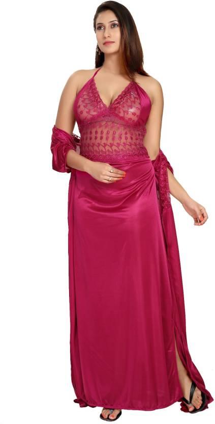 Fashigo Women Nighty with Robe - Buy Dark Pink Fashigo Women Nighty ... 19fc96c37