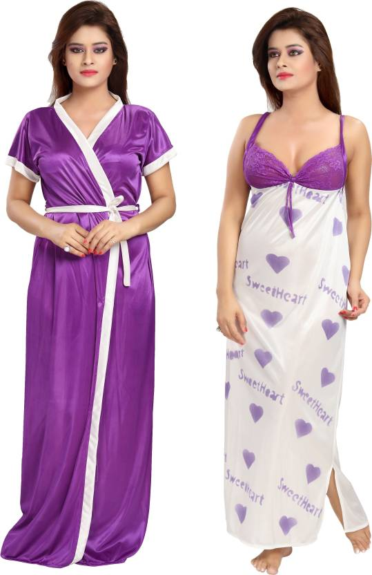 Shopping Station Women Nighty with Robe - Buy purple Shopping ... c29db6240