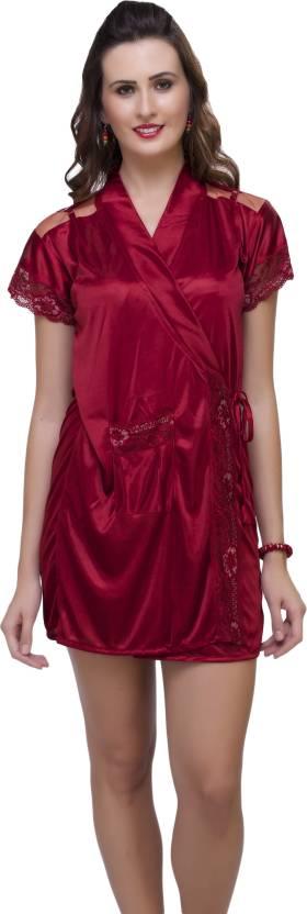 6477c198ddd Hot N Sweet Women's Nighty with Robe - Buy Maroon Hot N Sweet ...
