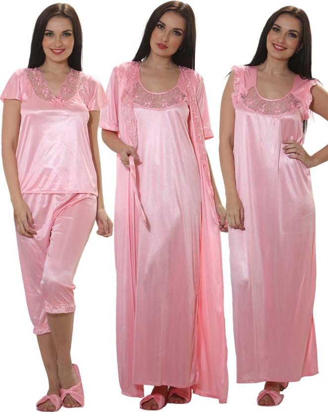 bf78180a82 Clovia Women Nighty with Robe - Buy BABY PINK Clovia Women Nighty ...