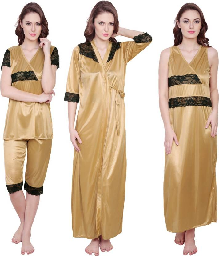 2218b4713c Claura Women s Nighty Set - Buy Gold Claura Women s Nighty Set ...