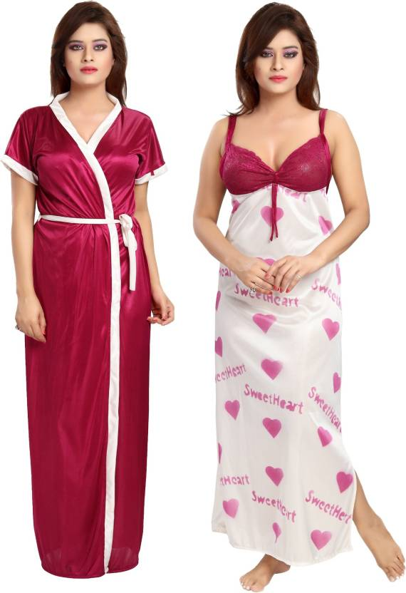 88a2fa9d2 Glam World Women Nighty with Robe - Buy Pink Glam World Women Nighty ...