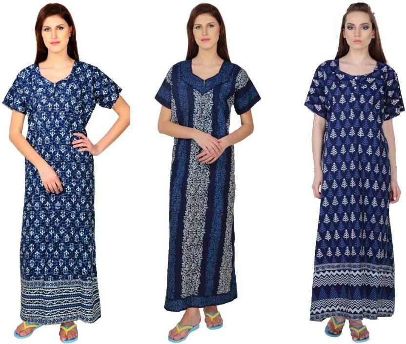 Simrit Women s Nighty - Buy Blue-Blue-Blue-CN-2-NGT136-3-NGT136-1 ... fac0b92f5
