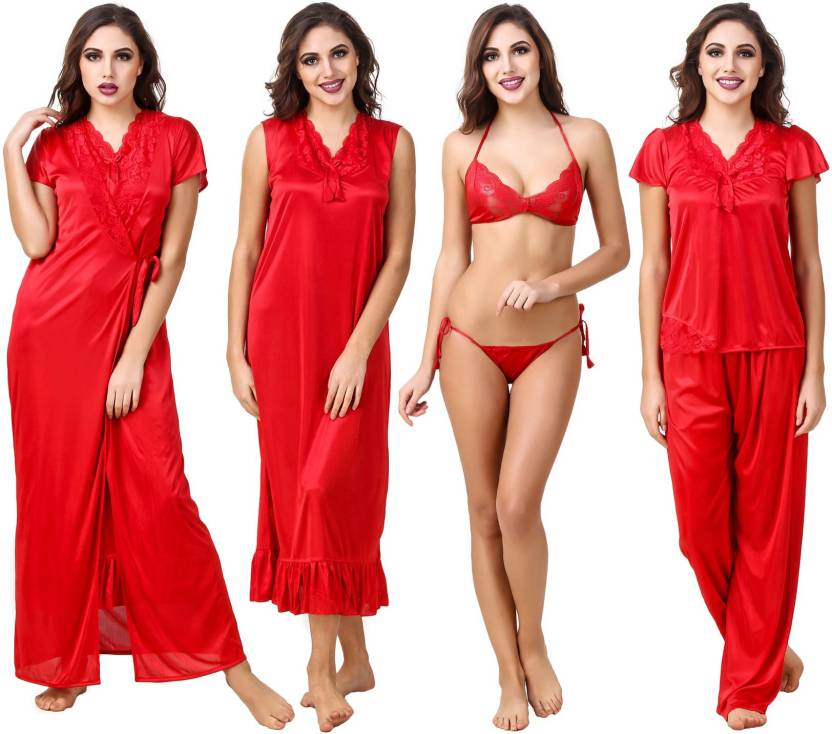 beb70d4a92 Fasense Women Nighty - Buy Red Fasense Women Nighty Online at Best ...