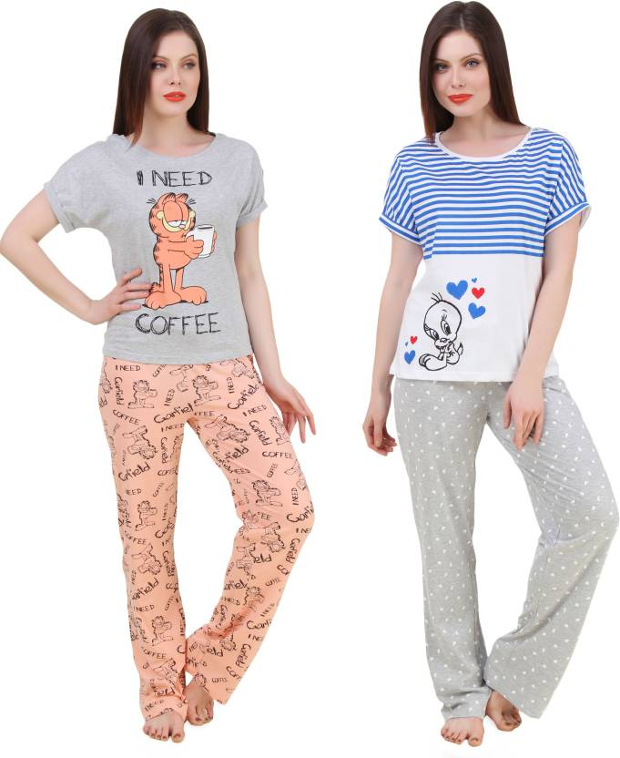 Big Pout Women s Printed Multicolor Top   Pyjama Set Price in India ... 3bdd39cd2