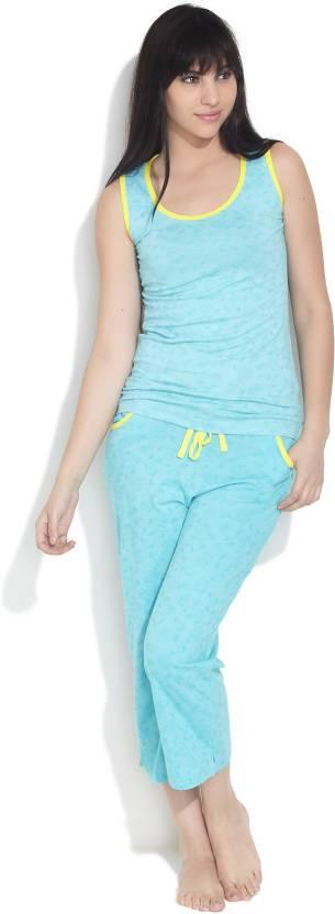 Nuteez Women's Printed Blue Top & Pyjama Set