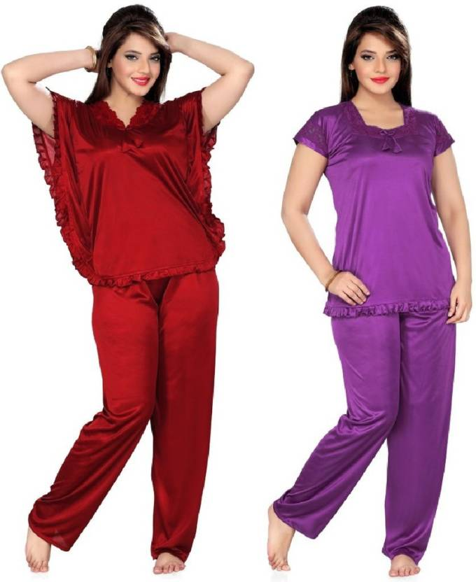 6b2037305d6 Boosah Women's Solid Purple, Maroon Top & Pyjama Set
