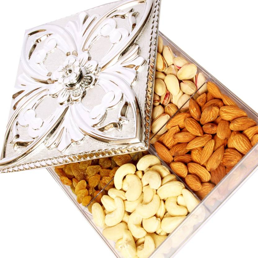 Ghasitaram Gifts Silver Multipurpose Dryfruit Box Cashews, Almonds, Raisins, Pistachios (200 g, Box)