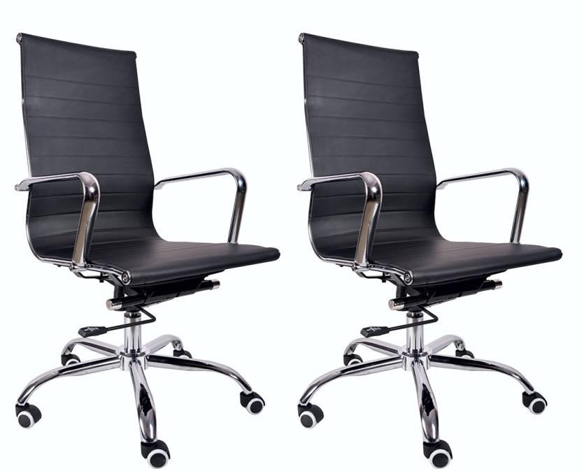 VJ Interior Leatherette Office Arm Chair Black, Set of 2