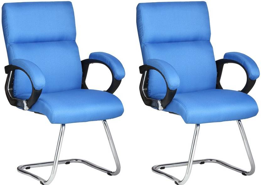 VJ Interior Leatherette Office Arm Chair Blue, Set of 2