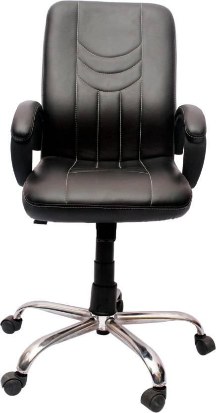 VJ Interior Leatherette Office Arm Chair Black