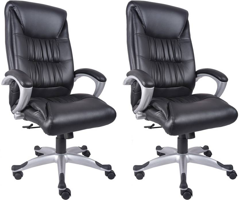 VJ Interior Leatherette Office Arm Chair Black, Set of 2