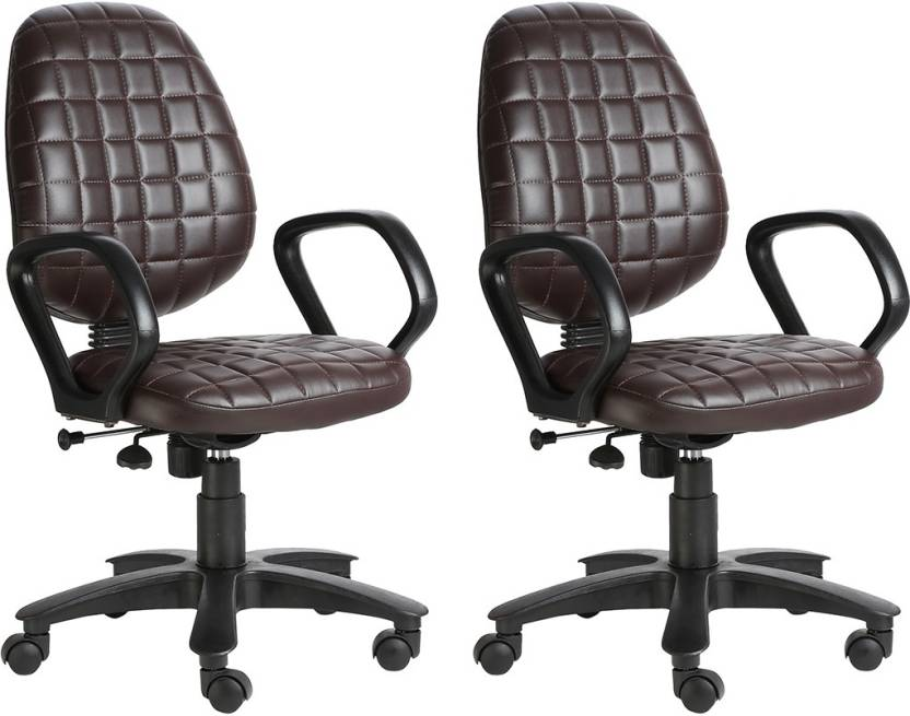 VJ Interior Leatherette Office Arm Chair Brown, Set of 2