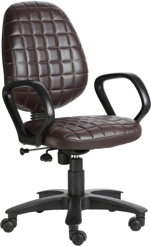 VJ Interior Leatherette Office Arm Chair Brown