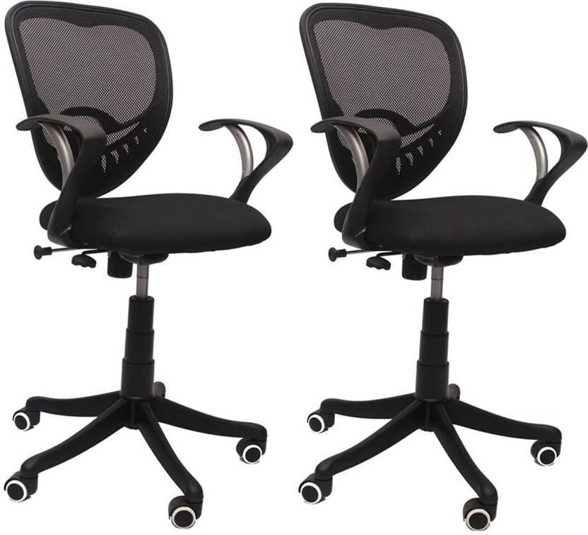VJ Interior Fabric Office Arm Chair Black, Set of 2