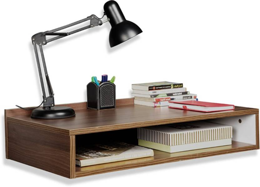 Delite Kom Compact Wall Hung Study Table With Open Shelf Engineered Wood Mounted Finish Color Acacia Dark Matt