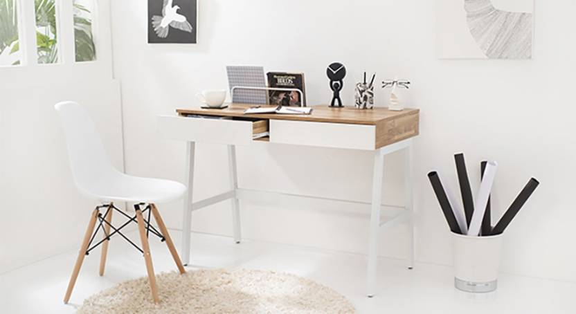 Urban Ladder Terry Engineered Wood Study Table Free Standing, Finish Color   Golden Oak