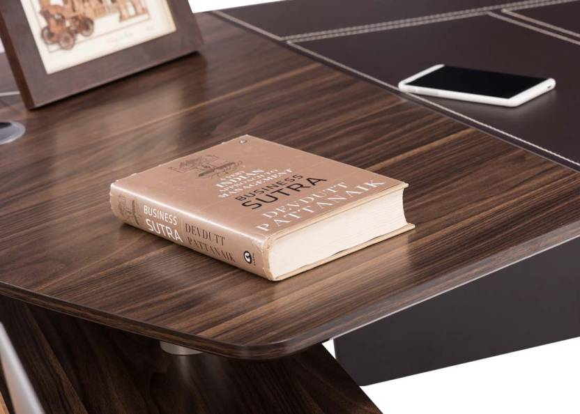 Durian ECLIPSE/L Engineered Wood Office Table(Free Standing, Finish Color - African Walnut)