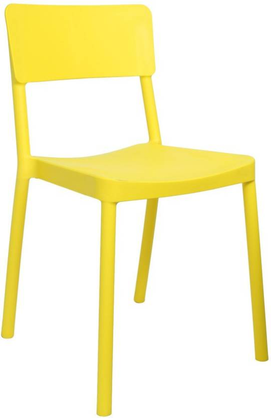 Cello Furniture Plastic Cafeteria Chair  Yellow, Set of 4