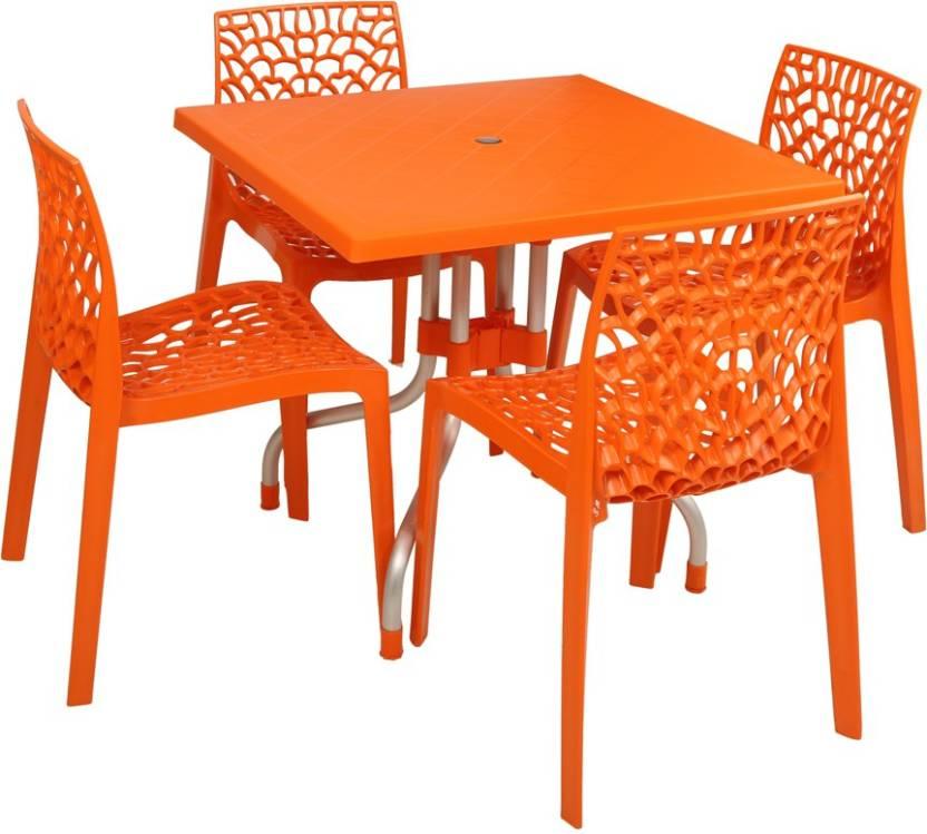 Supreme Orange Plastic Table Chair Set Finish Color