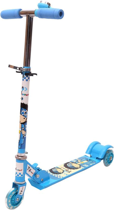 Toy House Three Wheeled Height Adjustable Scooter with LED Light Wheels & Anti-slip foot grip