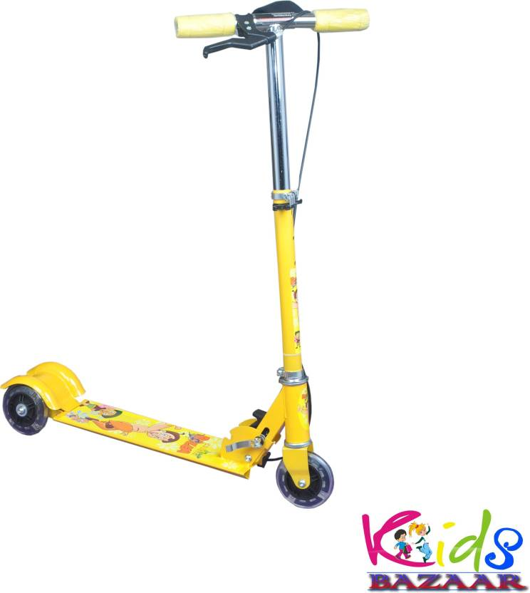be97e7e0b2b KidsBazaar Foldable 3 Wheeler Cycle Height Adjustable with Hand break and  Bell( yellow ) (Yellow)