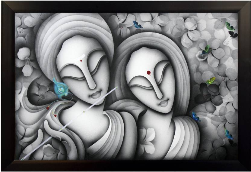 DivineCrafts Radha Krishna Love Moments Canvas 12 inch x 18 inch Painting