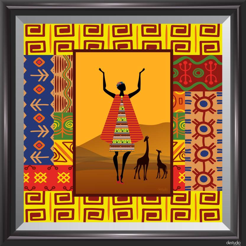 Destudio African Girl In Dancing Mode Black Small Wall Painting
