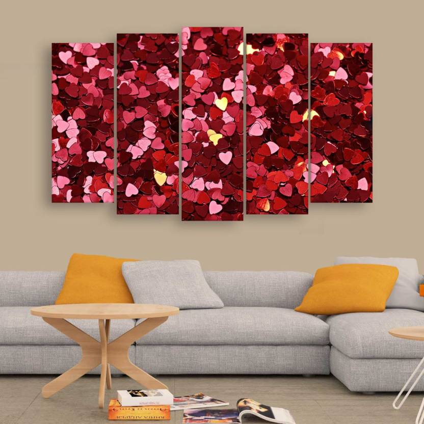 Inephos Beautiful Heart Wall Painting Multiple Frames Digital