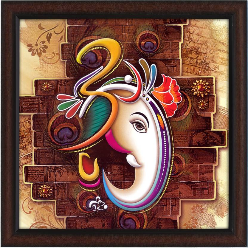 Delight ganeshji with om canvas painting