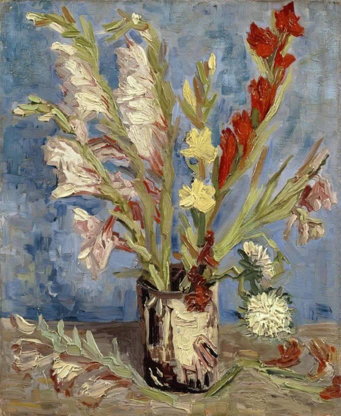 Ocher Art 19x23 Inches Vincent Van Gogh Vase With Gladioli