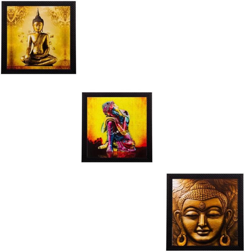 eCraftIndia Set Of 3 Meditating Buddha Matt Textured Framed Uv Art ...