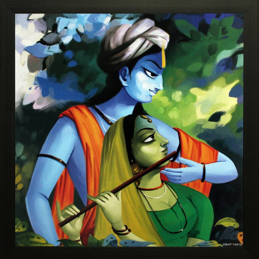 SAF Radha Krishna Ji Texture Print With UV Canvas Painting