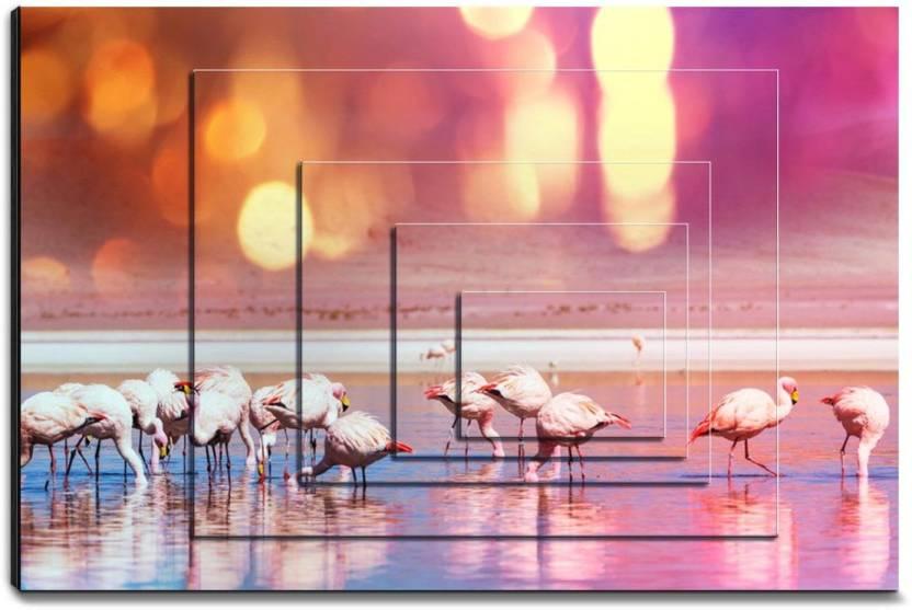 Hashtagdecor Pink Flamingos Ink 19 8 Inch X 29 7 Painting