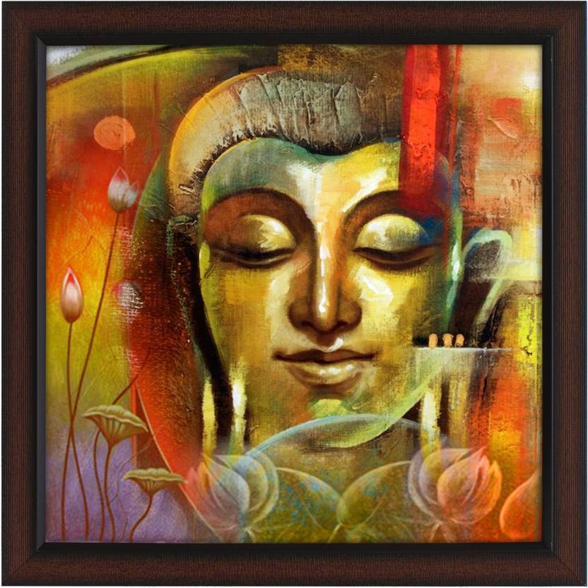 Delight mutlitcolor buddha face canvas painting