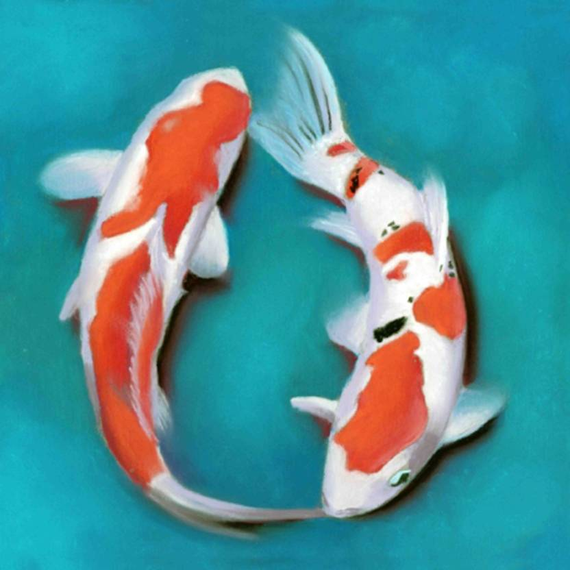 Art Factory Feng Shui Koi Fish Canvas 24 Inch X Painting