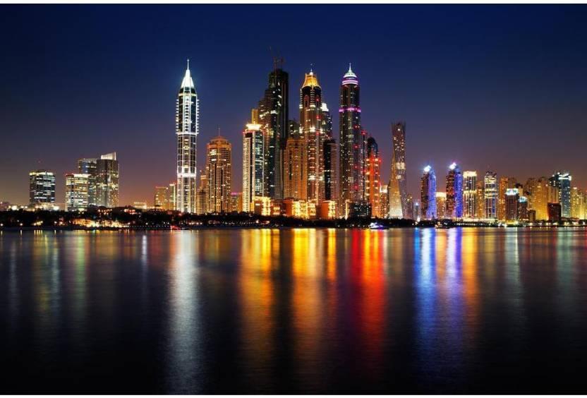 Dubai Marina, UAE, At Dusk As Seen From Palm Jumeirah Premium Poster
