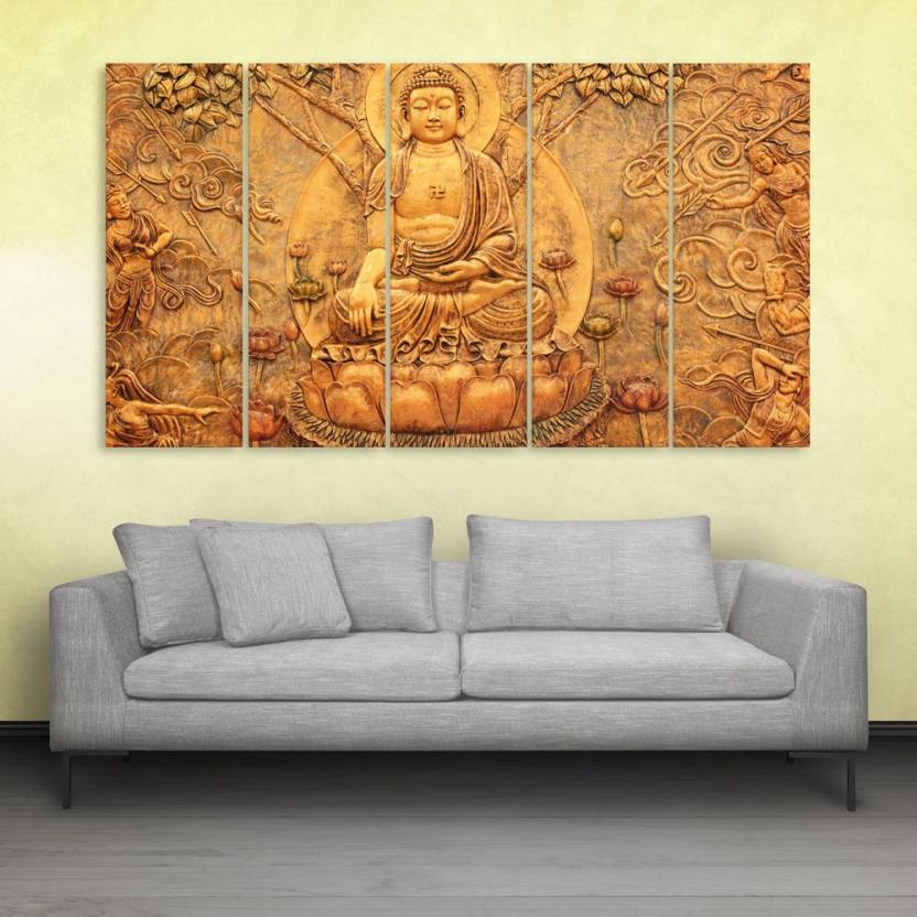 Inephos Buddha Beautiful Wall Painting Multiple Frames Digital Reprint 30 Inch X 52