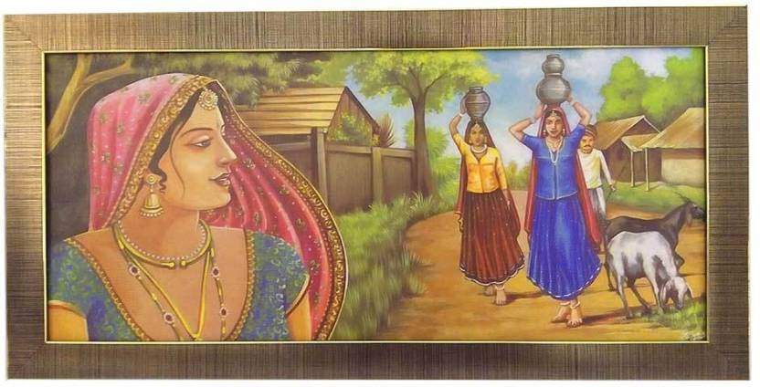 Luxerium Rajasthani Village By Return Favors Canvas Painting