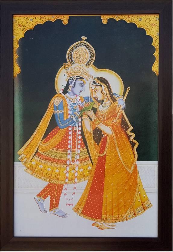 DivineCrafts Radha Krishna Digital Reprint 18 inch x 12 inch Painting
