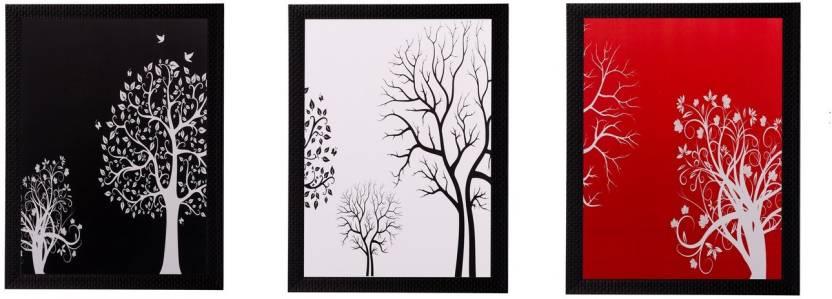 eCraftIndia Set Of 3 Abstract Tree Matt Textured Framed Uv Art Print ...