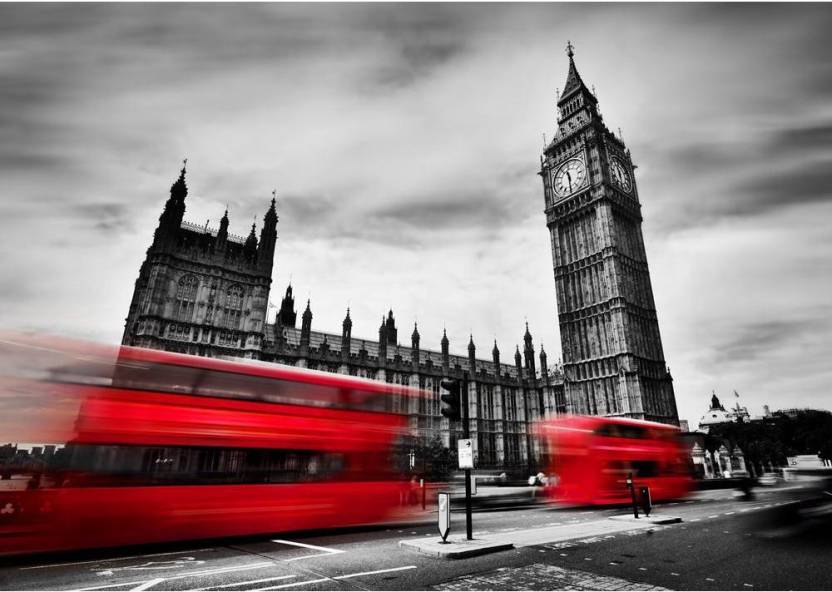 Red Buses In Motion And Big Ben The Palace Of Westminster