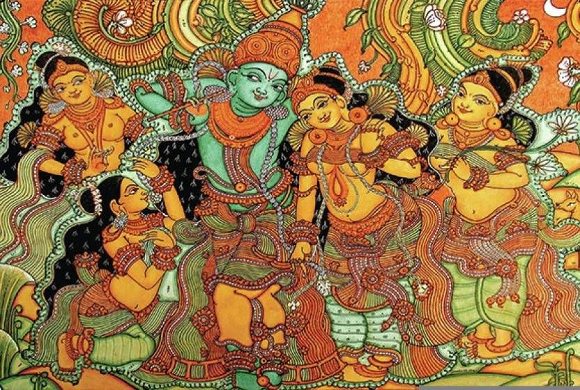 Retcomm digi art kerala mural krishna leela with gopis for Buy kerala mural paintings online