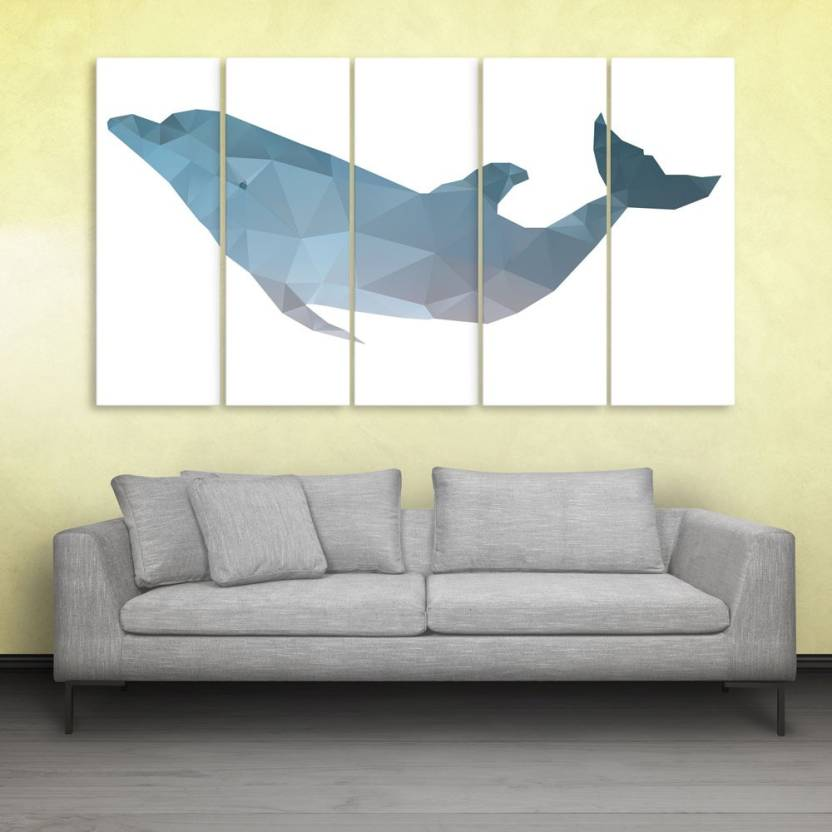 Inephos Fish Polygon Wall Painting Multiple Frames Digital Reprint ...