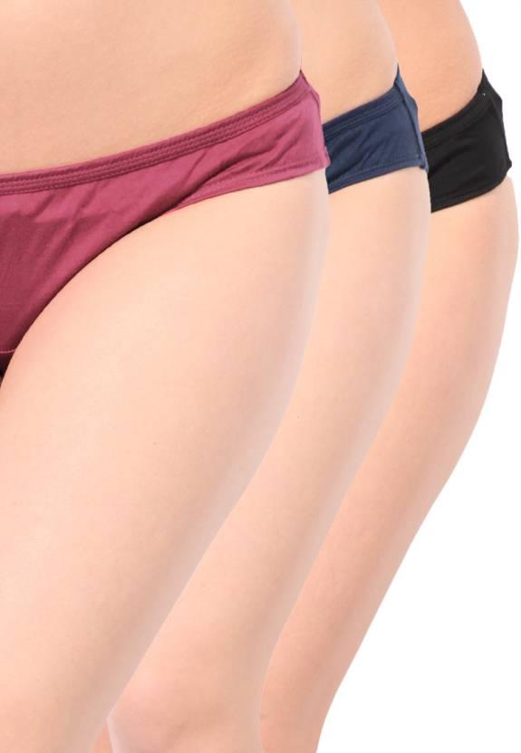 46f9fd644048 Hanes Cotton Plain Bikini P181 Women's Hipster Black, Blue Panty (Pack of 3)