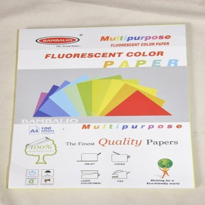 BAMBALIO Fluorescent Color Paper - 5 Colors X 20 Sheets 180 Gsm UNRULED A4  Multipurpose Paper (Set of 1 ff118b678a44