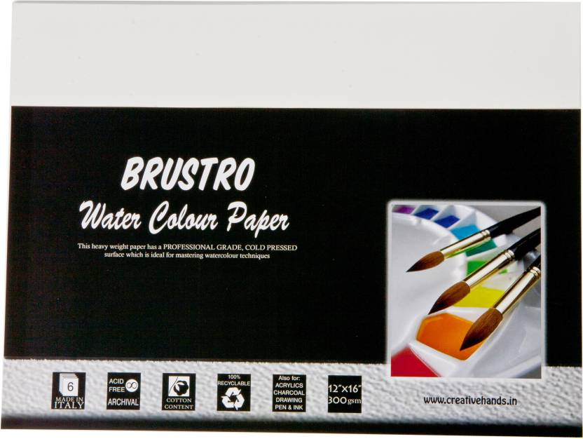 "Brustro Watercolor Paper 300 gsm Pack (12""X16"")"